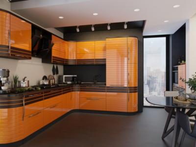 оранжевая кухня с деревянной отделкой